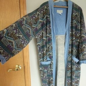 Aztec print long cotton overcoat with pockets